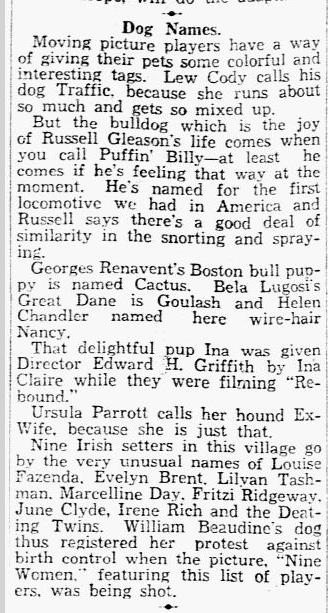 Bela Lugosi, Dallas Morning News, April 28, 1931