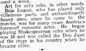 Bela Lugosi, Dallas Morning News, January 21, 1931