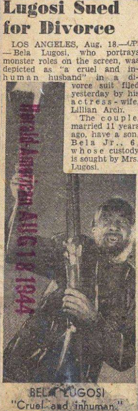 Bela Lugosi Divorce Herald American, August 18, 1944