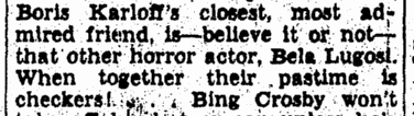 Bela Lugosi, Evening Star, April 27, 1941