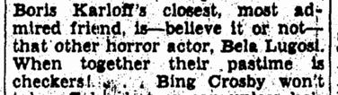 Bela Lugosi, Evening Star, April 27, 1941