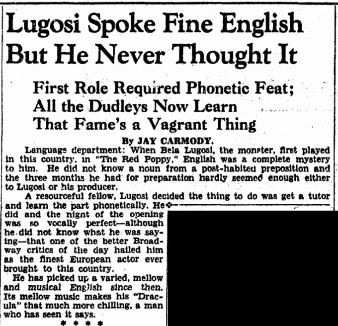 Bela Lugosi, Evening Star, June 15, 1943