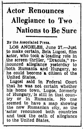 Bela Lugosi, Evening Star, June 28, 1931
