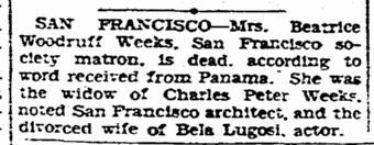 Bela Lugosi, Evening Tribune, May 23, 1931
