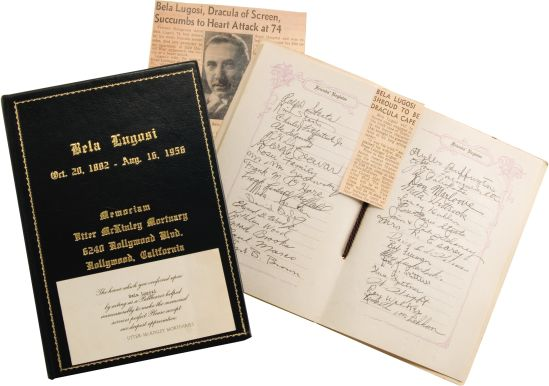 Bela Lugosi funeral book, pallbearers card and press clippings