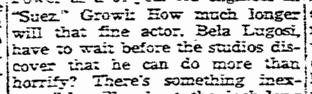 Bela Lugosi, Greensboro Daily News, October 20, 1938