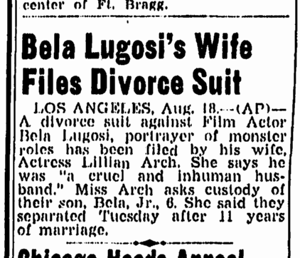 Bela Lugosi, Greensboro Record, August 18, 1944