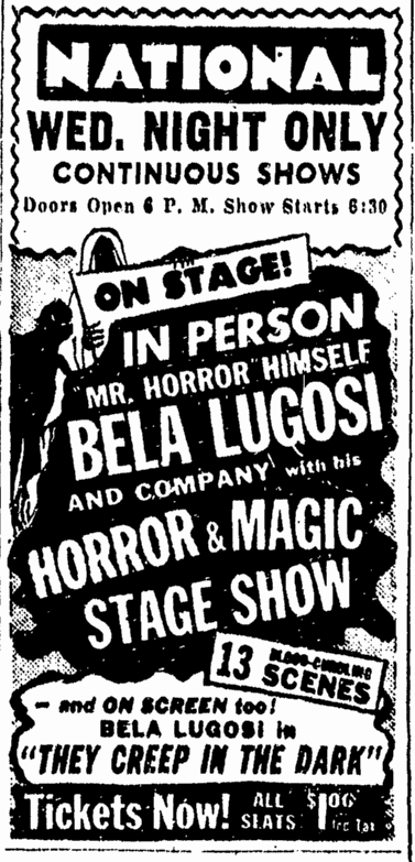 Bela Lugosi Horror and Magic Show, Richmond Times Dispatch, March 19, 1951