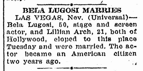 Bela Lugosi, Idaho Statesman, February 1, 1933
