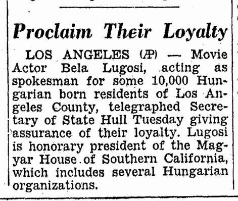 Bela Lugosi, Idaho Statesman, November 27, 1940