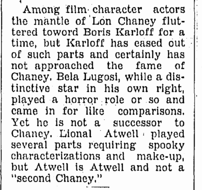 Bela Lugosi, Omaha World Herald, April 15, 1934