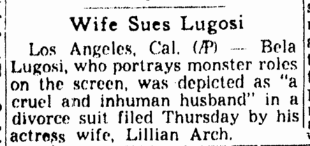 Bela Lugosi, Omaha World Herald, August 18, 1944