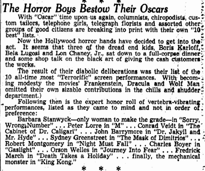 Bela Lugosi, Omaha World Herald, February 20, 1949