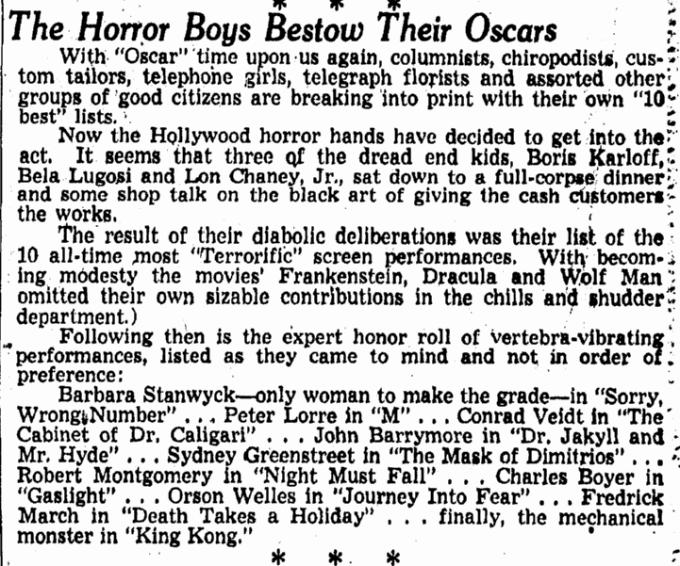 Bela Lugosi, Omaha World Herald, February 20, 1949