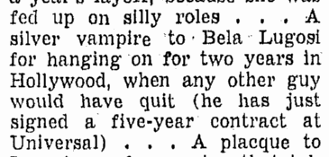 Bela Lugosi, Omaha World Herald, January 22, 1939