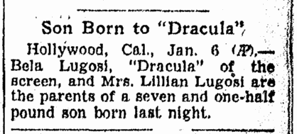 Bela Lugosi, Omaha World Herald, January 7, 1938