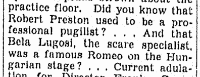 Bela Lugosi, Omaha World Herald, November 30, 1939