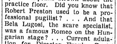 Bela Lugosi, Omaha World Herald, November 30, 1939