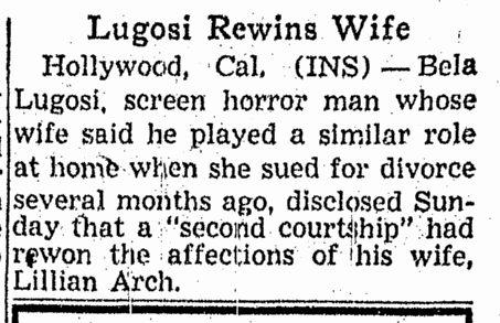 Bela Lugosi, Omaha World Herald, October 30, 1944