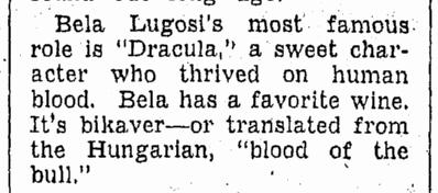 Bela Lugosi, Omaha World Herald, October 8, 1939