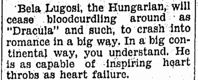 Bela Lugosi, Omaha World Herald, September 19, 1931