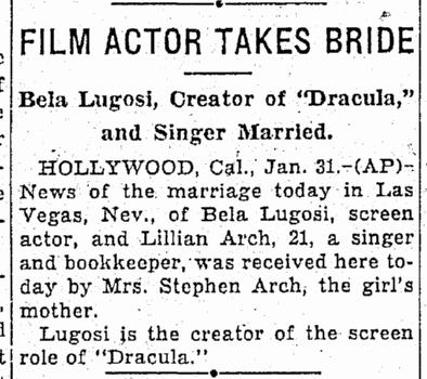 Bela Lugosi, Oregonian, February 1, 1933
