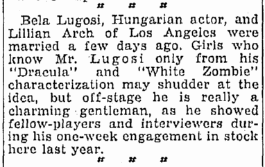 Bela Lugosi, Oregonian, February 7, 1933