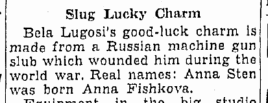 Bela Lugosi, Oregonian, January 7, 1939