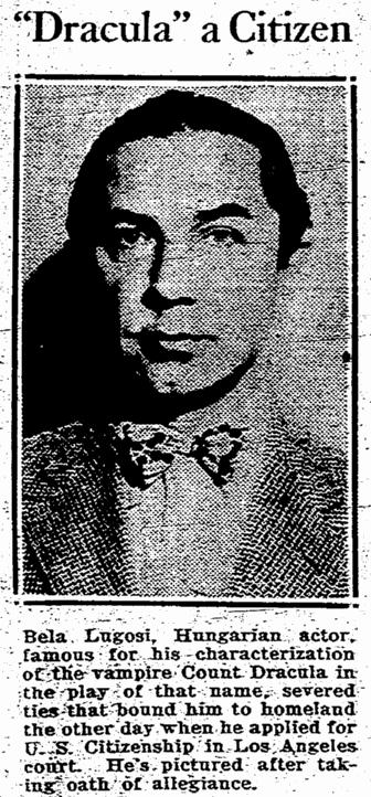 Bela Lugosi, Rocford Register-Republic, July 2, 1931