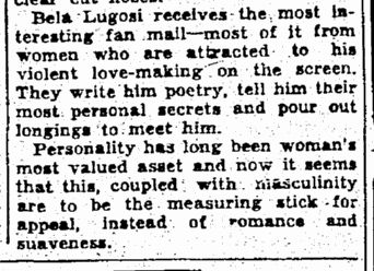 Bela Lugosi, The Times-Picayune, August 9, 1931