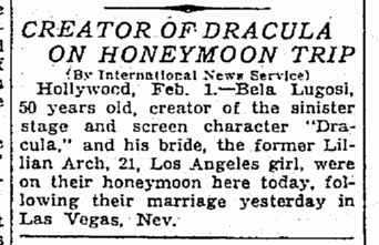 Bela Lugosi, The Times-Picayune, February 2, 1933