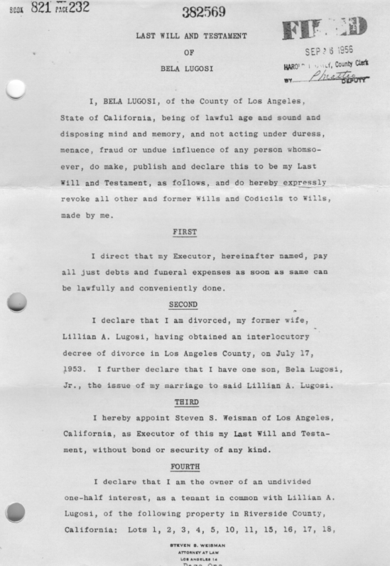 Bela Lugosi's Will Page 1