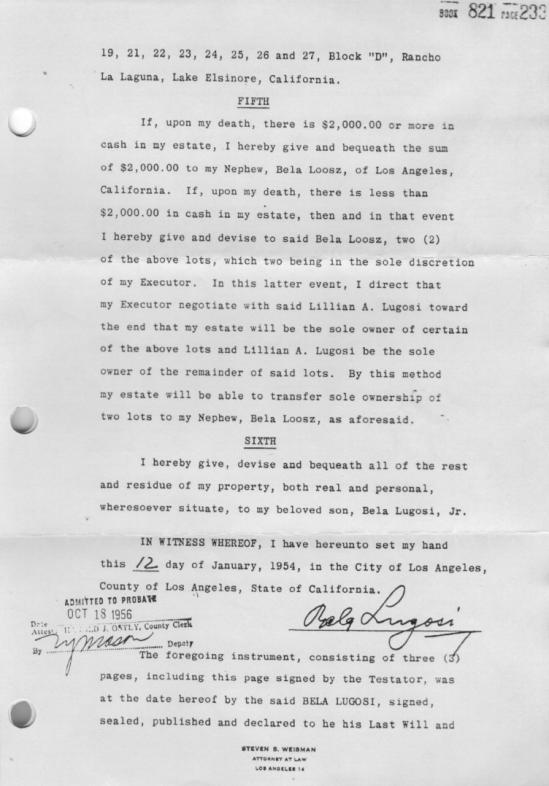 Bela Lugosi's Will Page 2