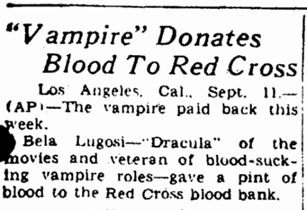 Blood Donation, Rockford Morning Star, September 12, 1943
