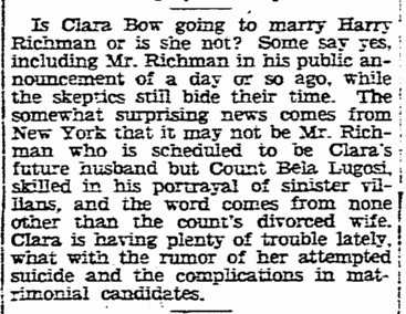 Clara Bow, Boston Herald, December 12, 1929
