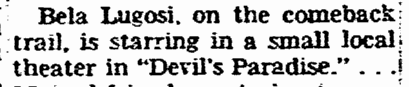 Devils Paradise, Washington Evening Star, March 7, 1956