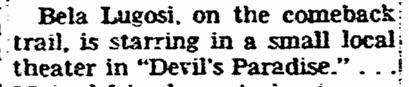 Devils Paradise, Washington Evening Star, March 7, 1956