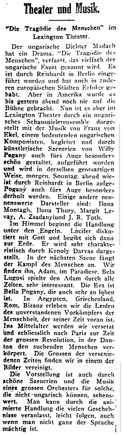 Die Tragodies ddees Menschen, Lexington Theater, New Yorker Volkszeitung, April 9, 1922