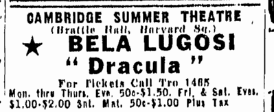 Dracula, Boston Herald, August 1, 1947