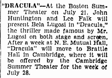 Dracula, Boston Herald, June 15, 1947
