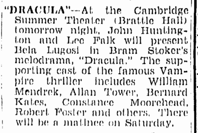 Dracula, Boston Herald, June 27, 1947