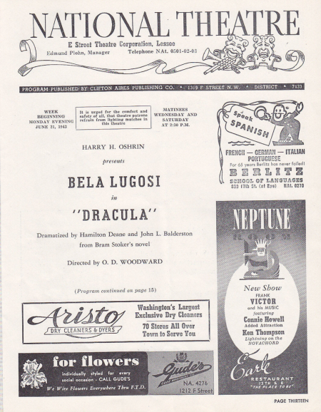 Dracula, National Theatre, 1943 2