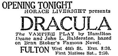 Dracula, October 5, 1927