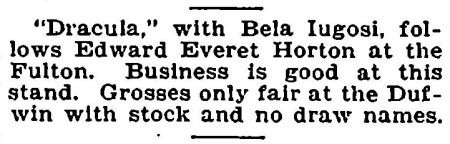 Dracula, Variety, July 2, 1930