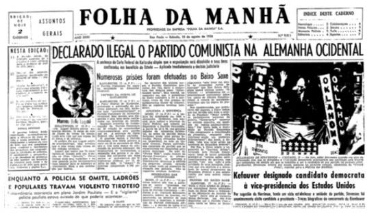Folha da Manha (current Folha de São Paulo) reported the death of Bela Lugosi in the edition of Saturday, August 18, 1956