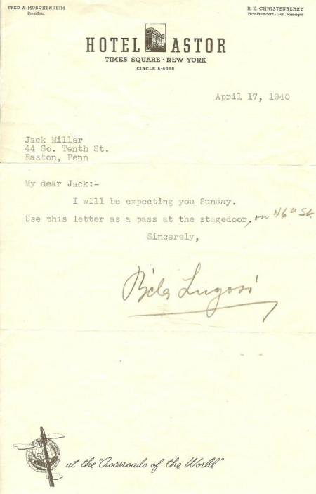 Hotel Astor Letter