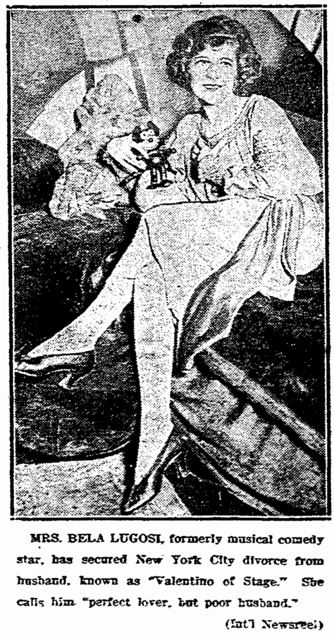 Lugosi divorce, from Ilona Von Montagh, Daily Register Gazette, January 5, 1925