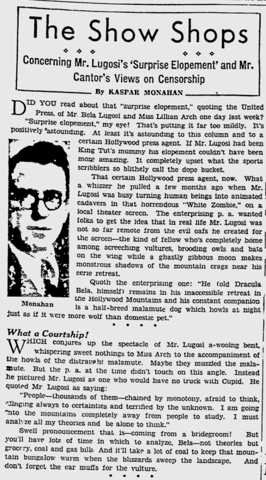Lugosi Elopement, The Pitsburgh Press, February 6, 1933