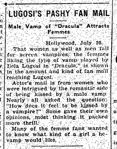 Lugosi fan mail, July 21, 1931