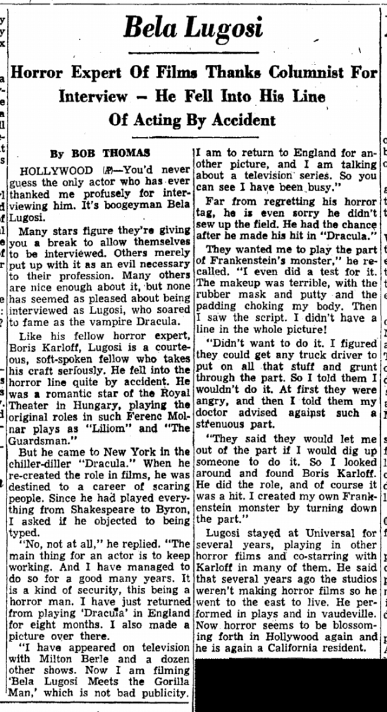 Lugosi Interview, Trenton Evening Times, May 26, 1952